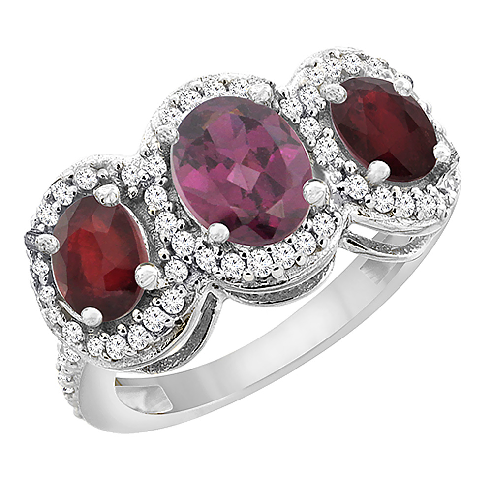 10K White Gold Natural Rhodolite & Enhanced Ruby 3-Stone Ring Oval Diamond Accent, sizes 5 - 10