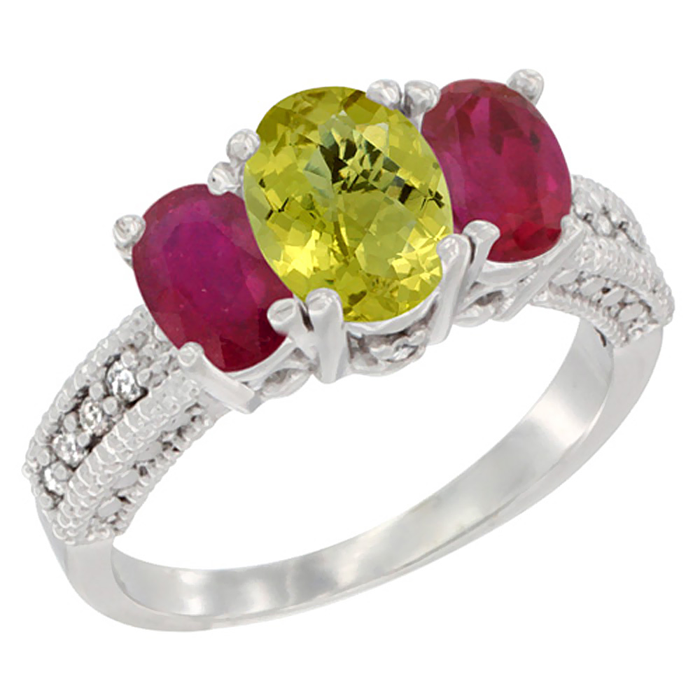14K White Gold Diamond Natural Lemon Quartz Ring Oval 3-stone with Enhanced Ruby, sizes 5 - 10