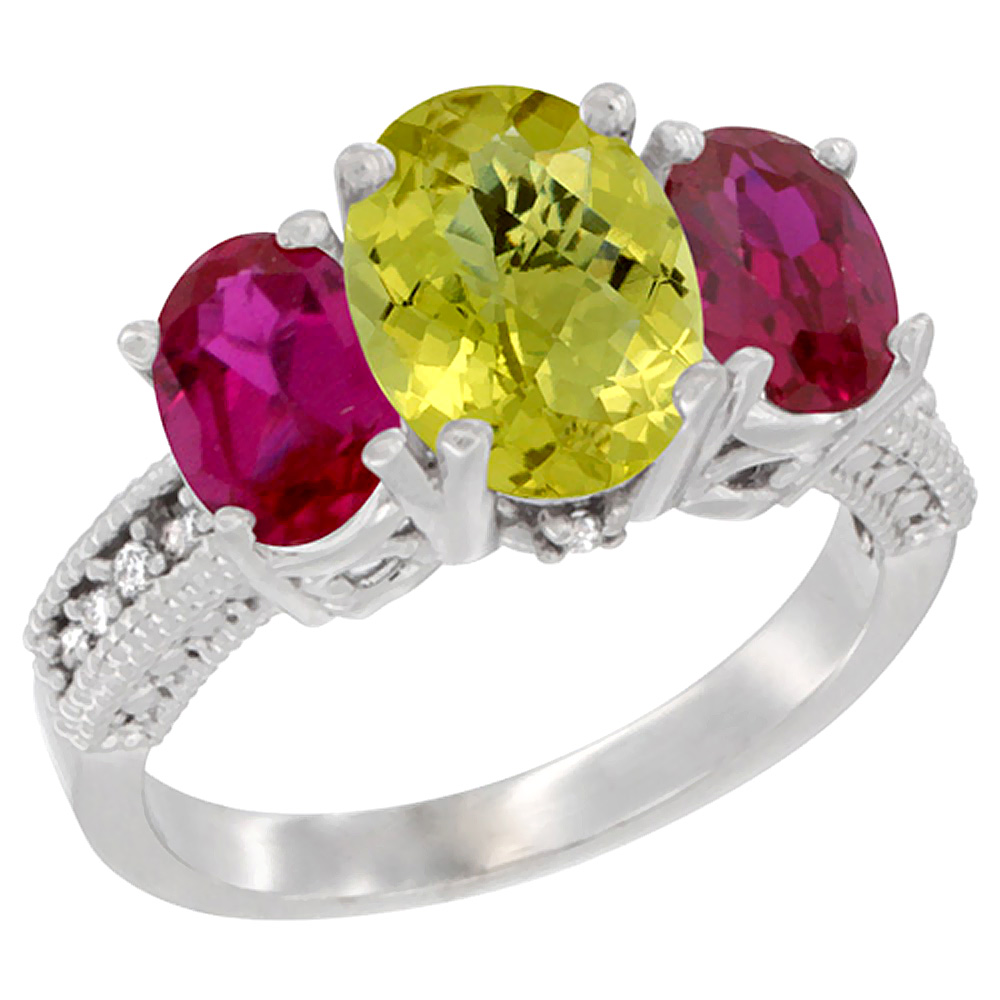 14K White Gold Diamond Natural Lemon Quartz Ring 3-Stone Oval 8x6mm with Ruby, sizes5-10