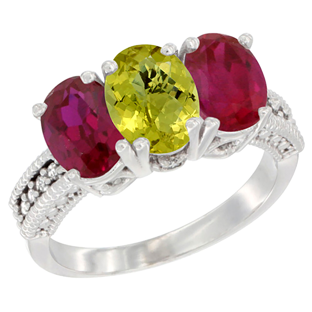 14K White Gold Natural Lemon Quartz & Enhanced Ruby Sides Ring 3-Stone 7x5 mm Oval Diamond Accent, sizes 5 - 10