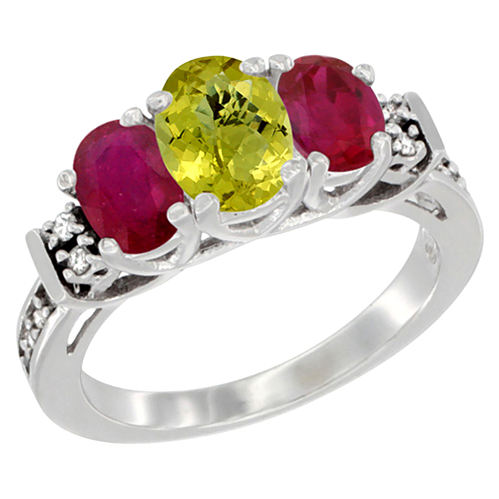 14K White Gold Natural Lemon Quartz & Enhanced Ruby Ring 3-Stone Oval Diamond Accent, sizes 5-10