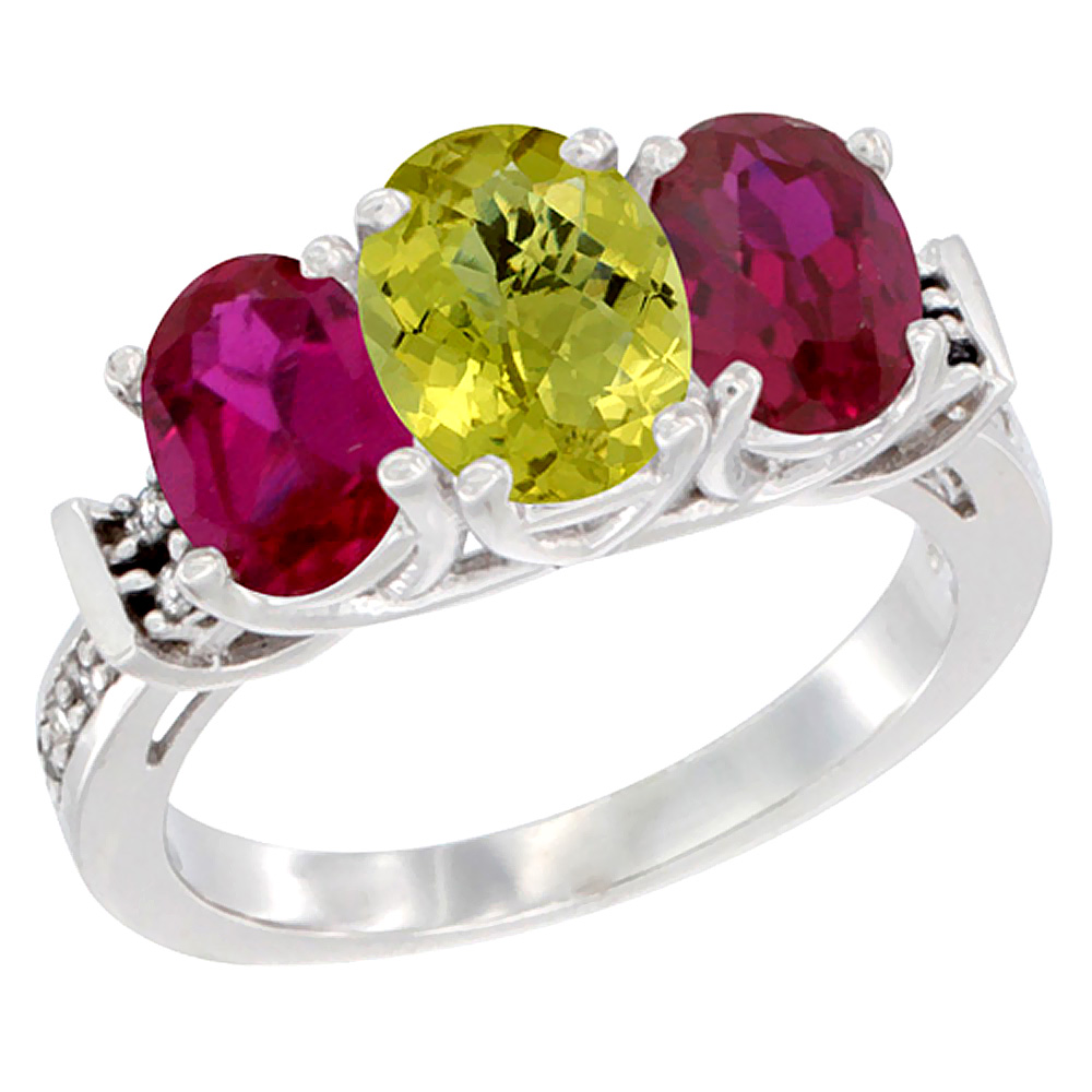 14K White Gold Natural Lemon Quartz & Enhanced Ruby Sides Ring 3-Stone Oval Diamond Accent, sizes 5 - 10