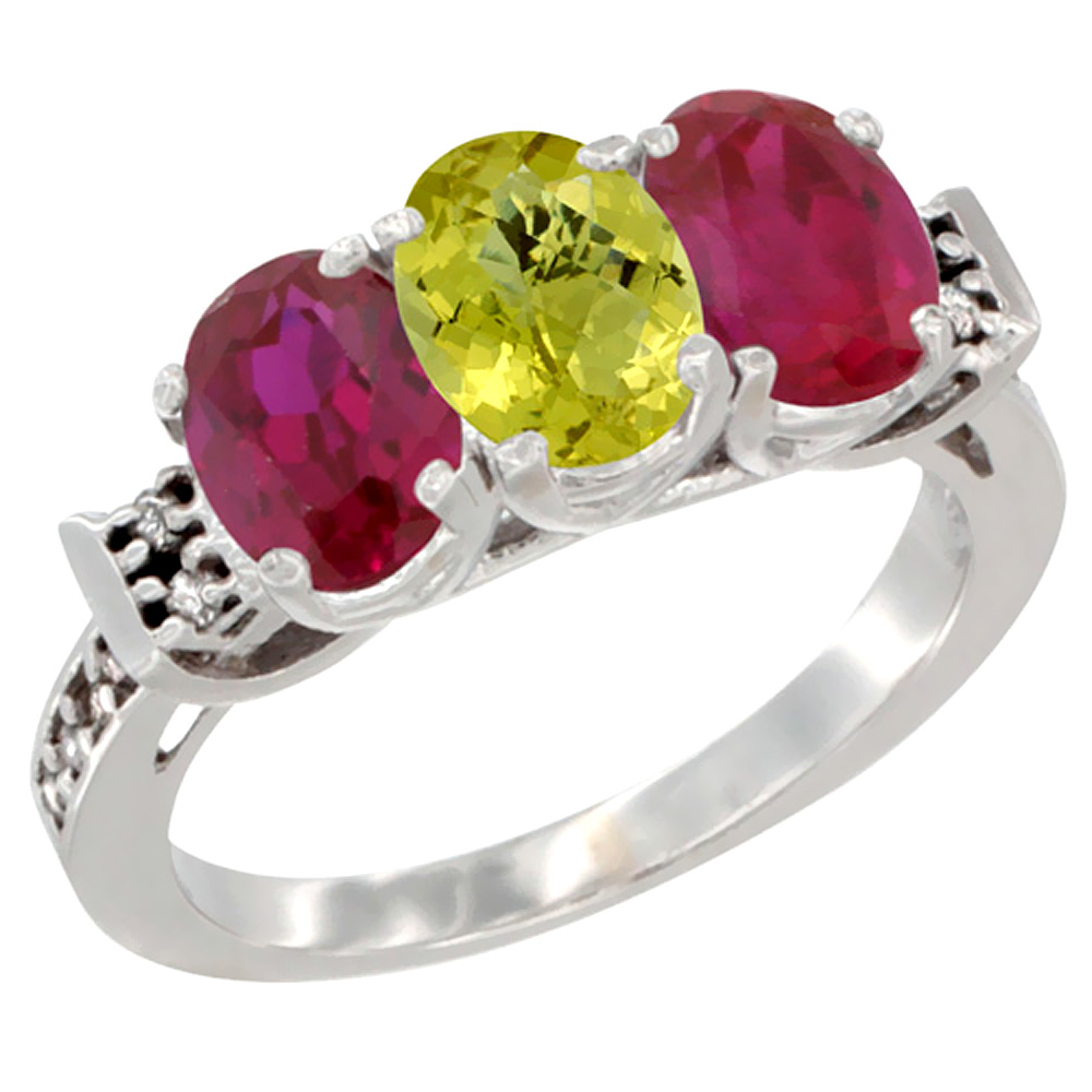 14K White Gold Natural Lemon Quartz & Enhanced Ruby Sides Ring 3-Stone Oval 7x5 mm Diamond Accent, sizes 5 - 10