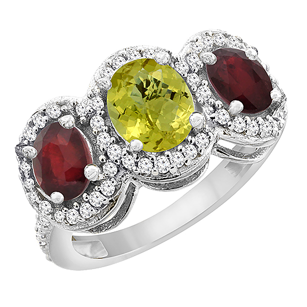 14K White Gold Natural Lemon Quartz & Enhanced Ruby 3-Stone Ring Oval Diamond Accent, sizes 5 - 10
