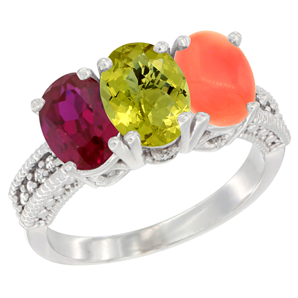 14K White Gold Enhanced Ruby, Natural Lemon Quartz & Coral Ring 3-Stone 7x5 mm Oval Diamond Accent, sizes 5 - 10