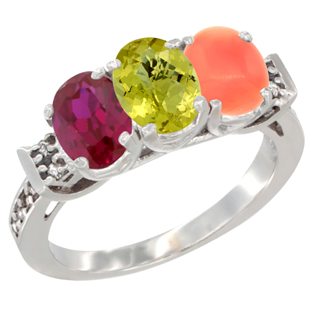14K White Gold Enhanced Ruby, Natural Lemon Quartz & Coral Ring 3-Stone Oval 7x5 mm Diamond Accent, sizes 5 - 10
