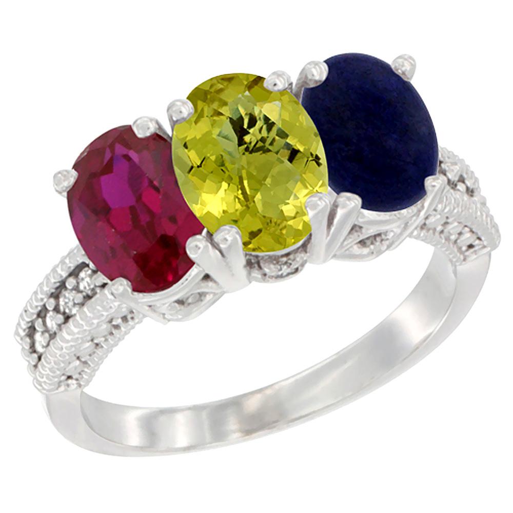 14K White Gold Enhanced Ruby, Natural Lemon Quartz & Lapis Ring 3-Stone 7x5 mm Oval Diamond Accent, sizes 5 - 10