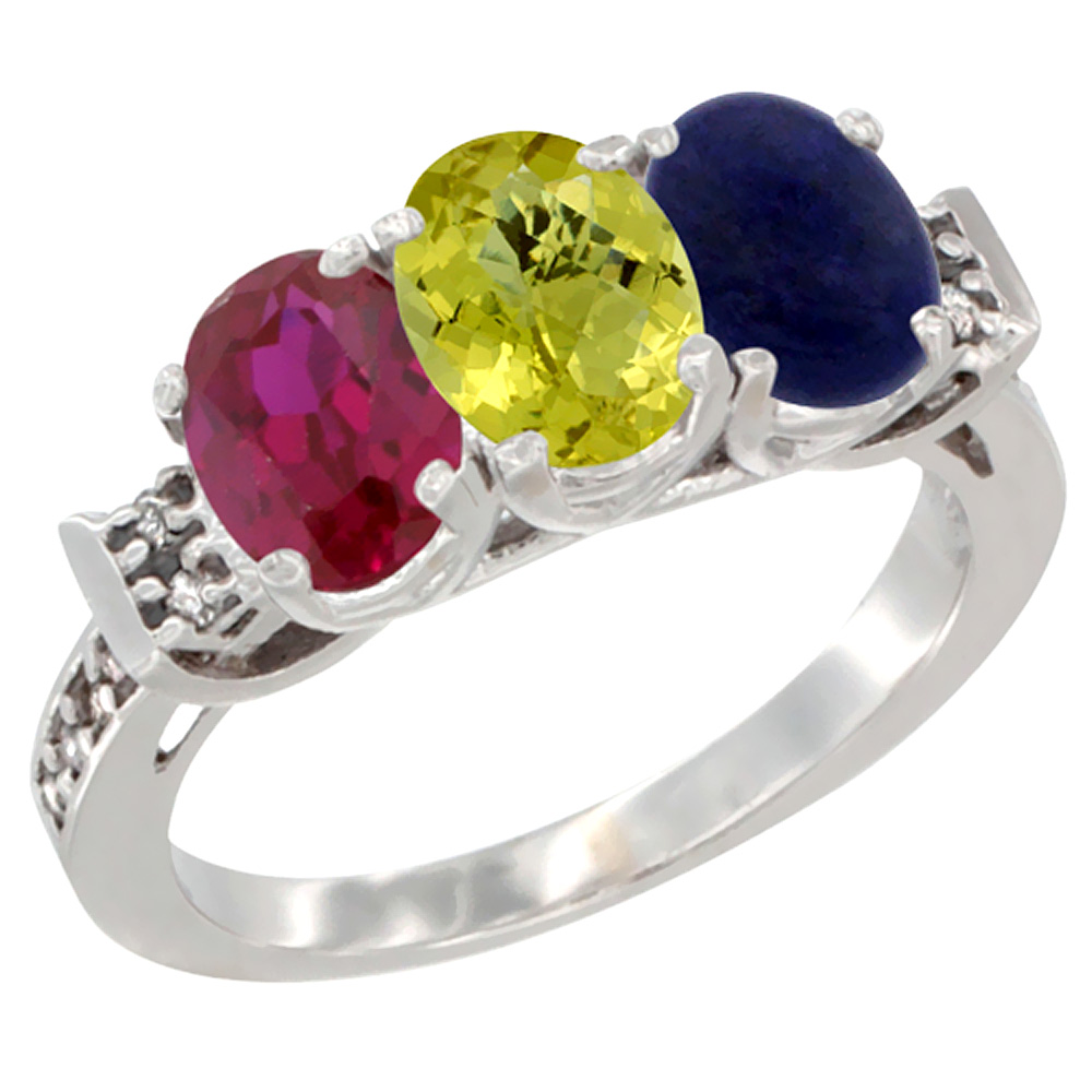 14K White Gold Enhanced Ruby, Natural Lemon Quartz & Lapis Ring 3-Stone Oval 7x5 mm Diamond Accent, sizes 5 - 10