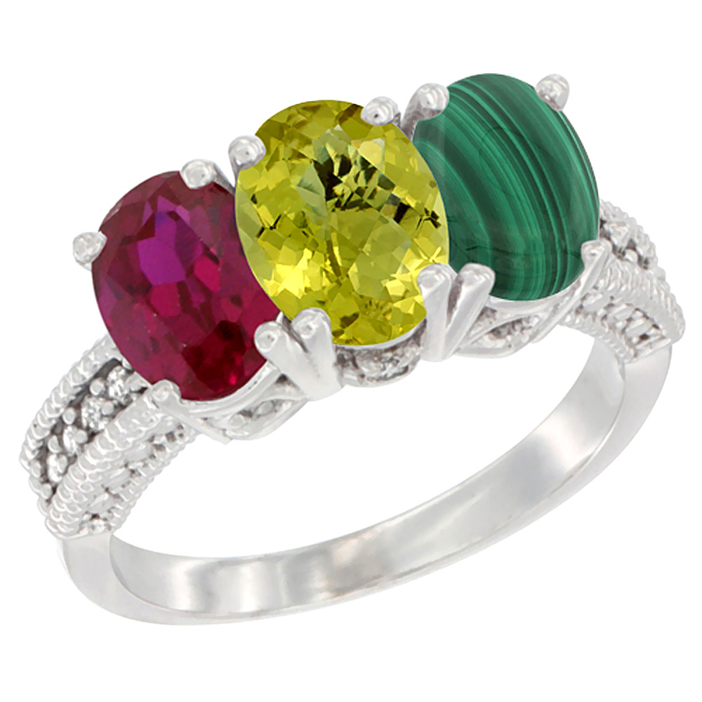 14K White Gold Enhanced Ruby, Natural Lemon Quartz & Malachite Ring 3-Stone 7x5 mm Oval Diamond Accent, sizes 5 - 10
