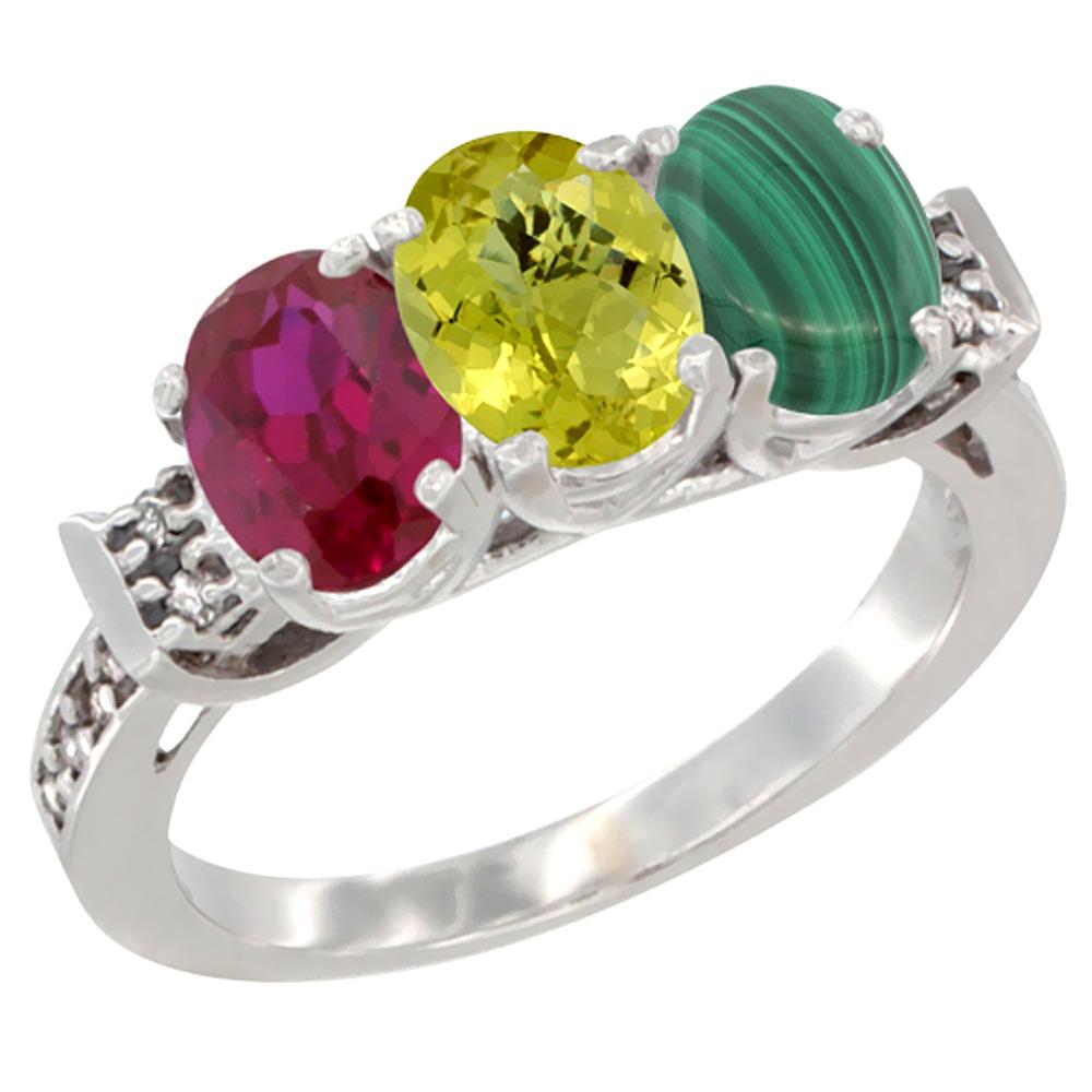 14K White Gold Enhanced Ruby, Natural Lemon Quartz & Malachite Ring 3-Stone Oval 7x5 mm Diamond Accent, sizes 5 - 10