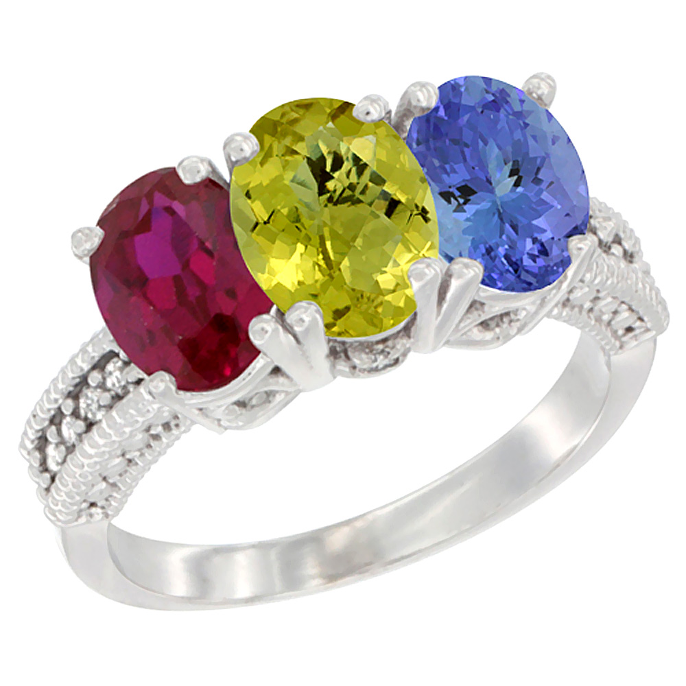 14K White Gold Enhanced Ruby, Natural Lemon Quartz & Tanzanite Ring 3-Stone 7x5 mm Oval Diamond Accent, sizes 5 - 10