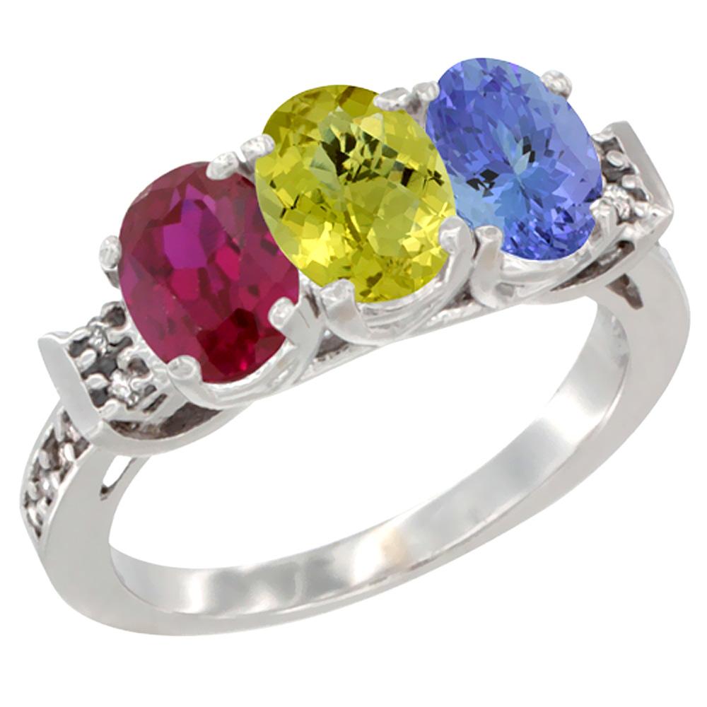 14K White Gold Enhanced Ruby, Natural Lemon Quartz & Tanzanite Ring 3-Stone Oval 7x5 mm Diamond Accent, sizes 5 - 10