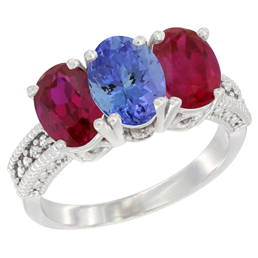 14K White Gold Natural Tanzanite & Enhanced Ruby Sides Ring 3-Stone 7x5 mm Oval Diamond Accent, sizes 5 - 10