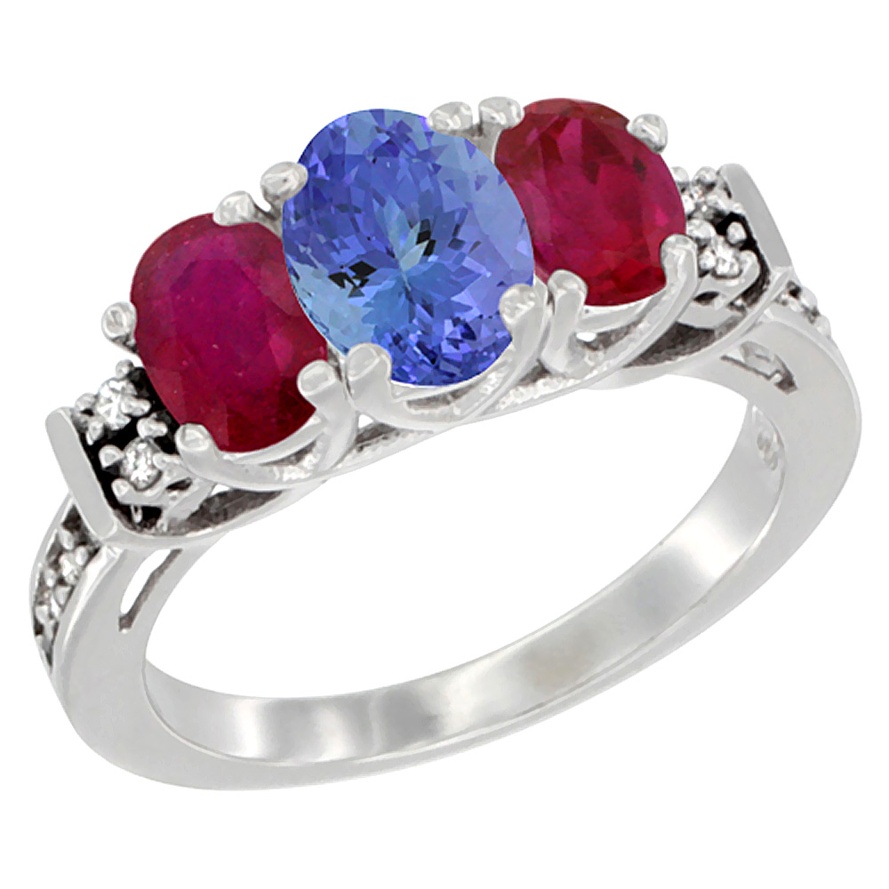 14K White Gold Natural Tanzanite & Enhanced Ruby Ring 3-Stone Oval Diamond Accent, sizes 5-10