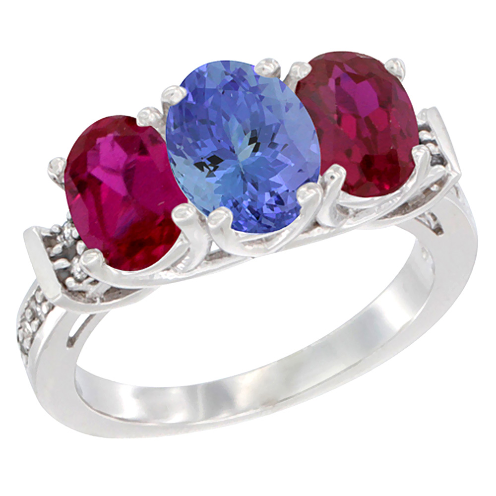 14K White Gold Natural Tanzanite & Enhanced Ruby Sides Ring 3-Stone Oval Diamond Accent, sizes 5 - 10