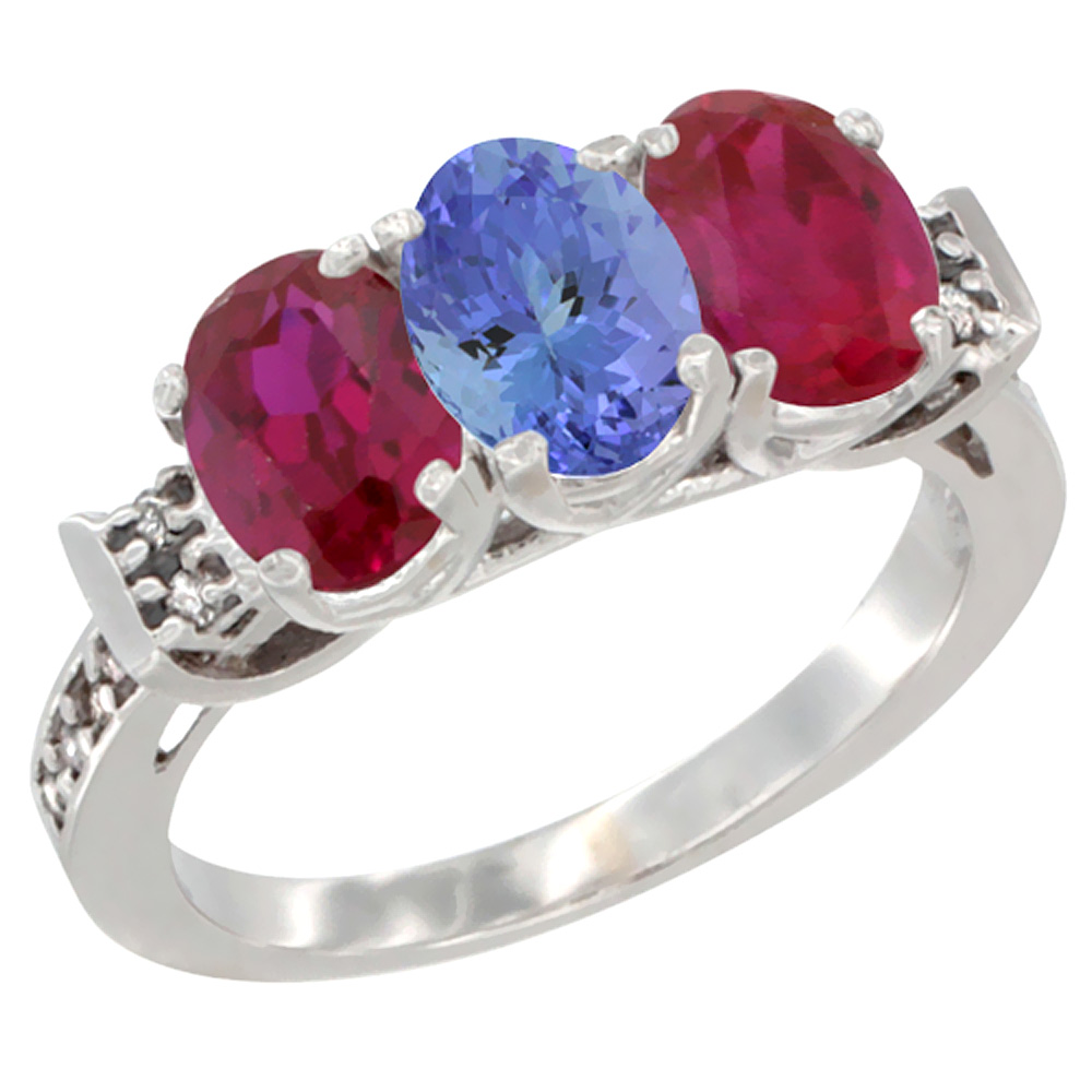 14K White Gold Natural Tanzanite & Enhanced Ruby Sides Ring 3-Stone Oval 7x5 mm Diamond Accent, sizes 5 - 10