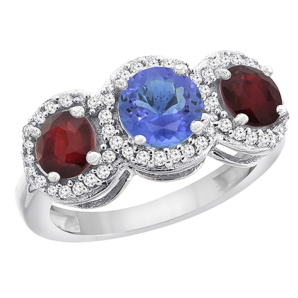 14K White Gold Natural Tanzanite & Enhanced Ruby Sides Round 3-stone Ring Diamond Accents, sizes 5 - 10