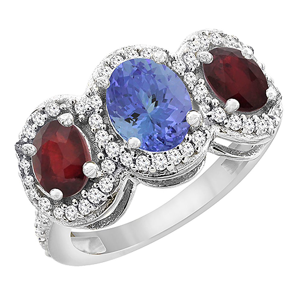 14K White Gold Natural Tanzanite & Enhanced Ruby 3-Stone Ring Oval Diamond Accent, sizes 5 - 10