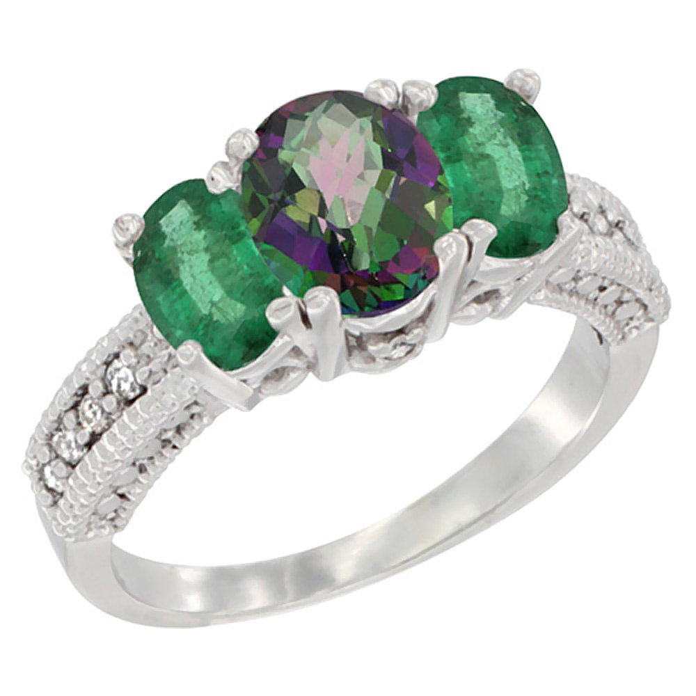 10K White Gold Diamond Natural Mystic Topaz Ring Oval 3-stone with Emerald, sizes 5 - 10