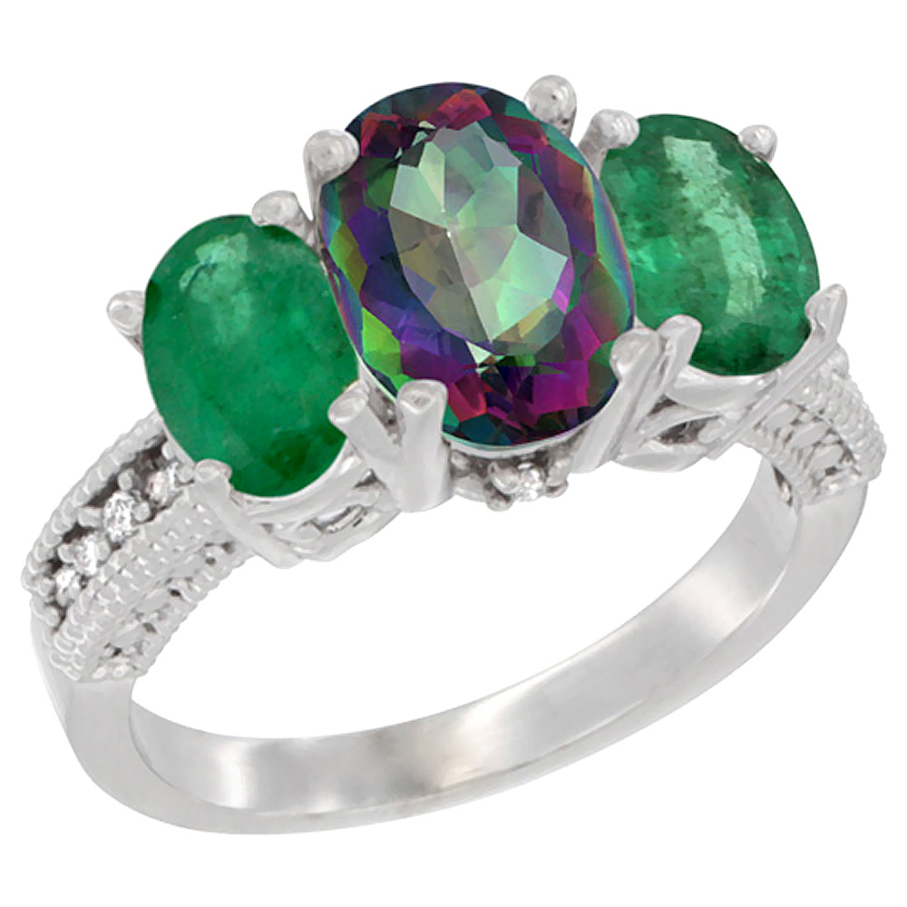 10K White Gold Diamond Natural Mystic Topaz Ring 3-Stone Oval 8x6mm with Emerald, sizes5-10