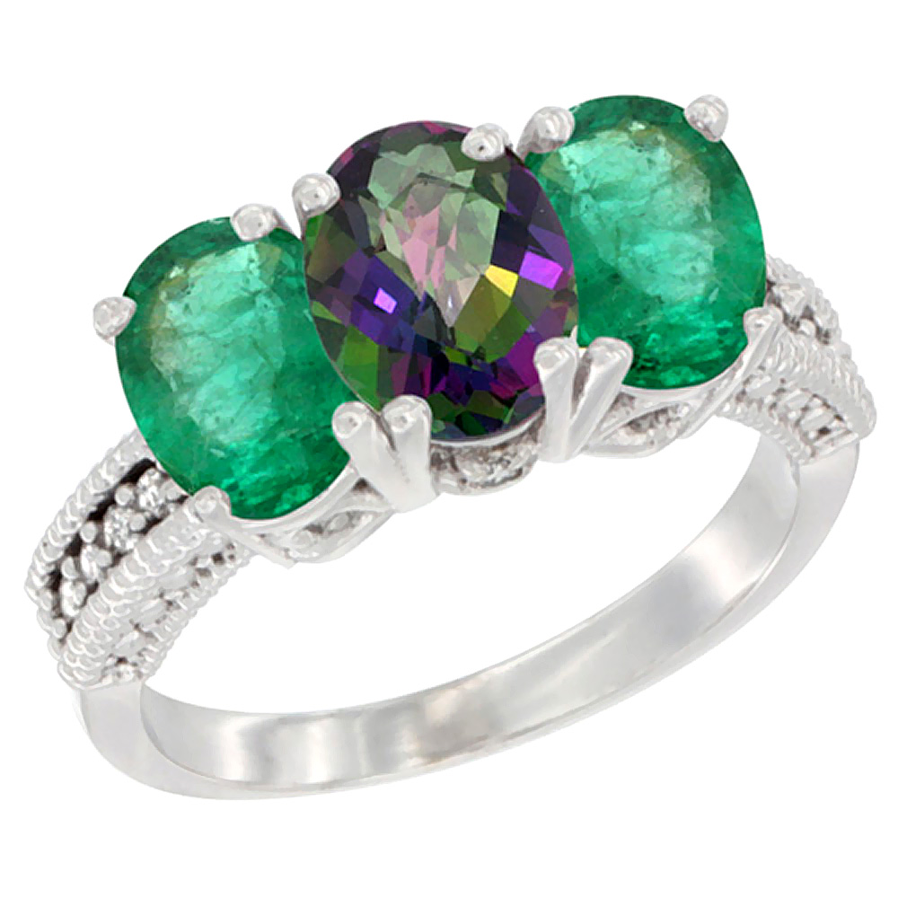 10K White Gold Diamond Natural Mystic Topaz & Emerald Ring 3-Stone 7x5 mm Oval, sizes 5 - 10