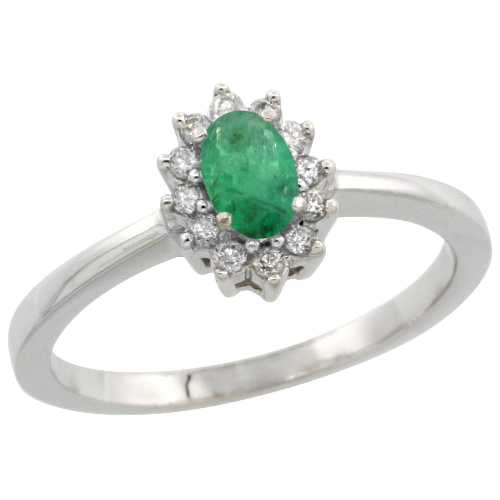 10k White Gold Natural Emerald Ring Oval 5x3mm Diamond Halo, sizes 5-10