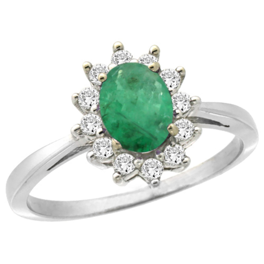 10k White Gold Natural Emerald Engagement Ring Oval 7x5mm Diamond Halo, sizes 5-10