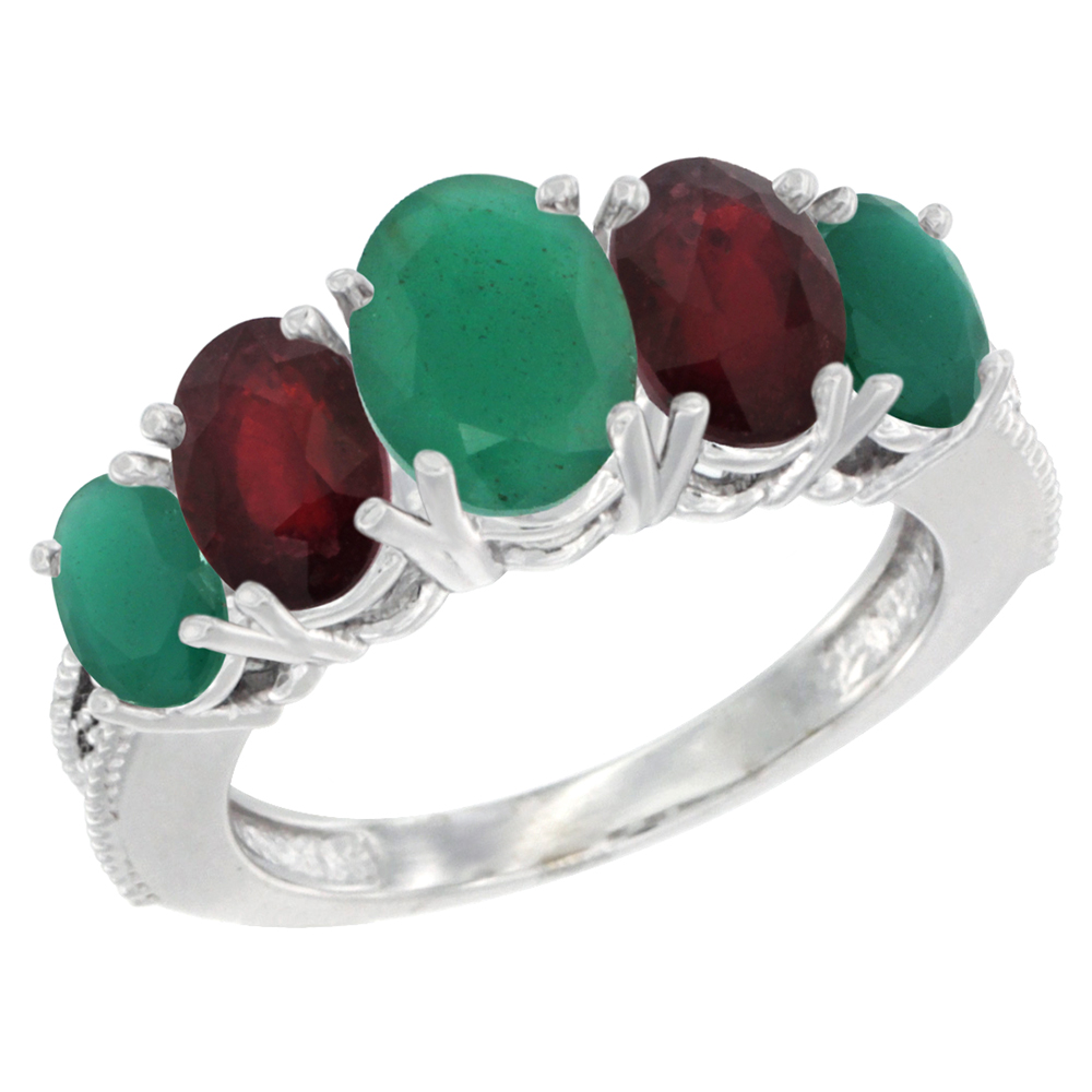 10K White Gold Diamond Natural Emerald,Enhanced Genuine Ruby Ring 5-stone Oval 8x6 Ctr,7x5,6x4 sides, szs5-10