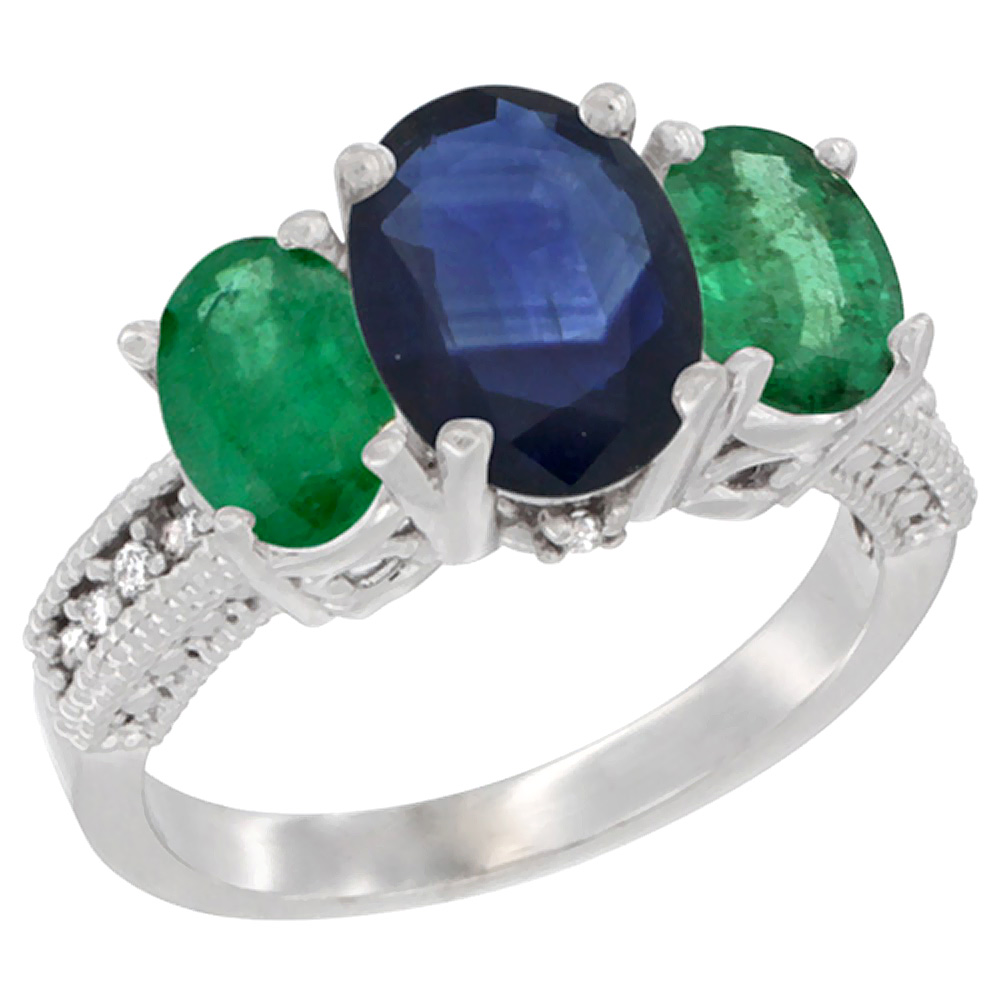 10K White Gold Diamond Natural Quality Blue Sapphire 3-stone Mothers Ring Oval 8x6mm with Emerald, sz5-10