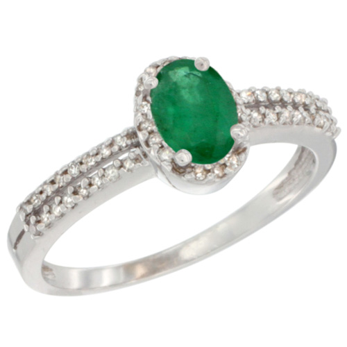 14K White Gold Natural Emerald Ring Oval 6x4mm Diamond Accent, sizes 5-10