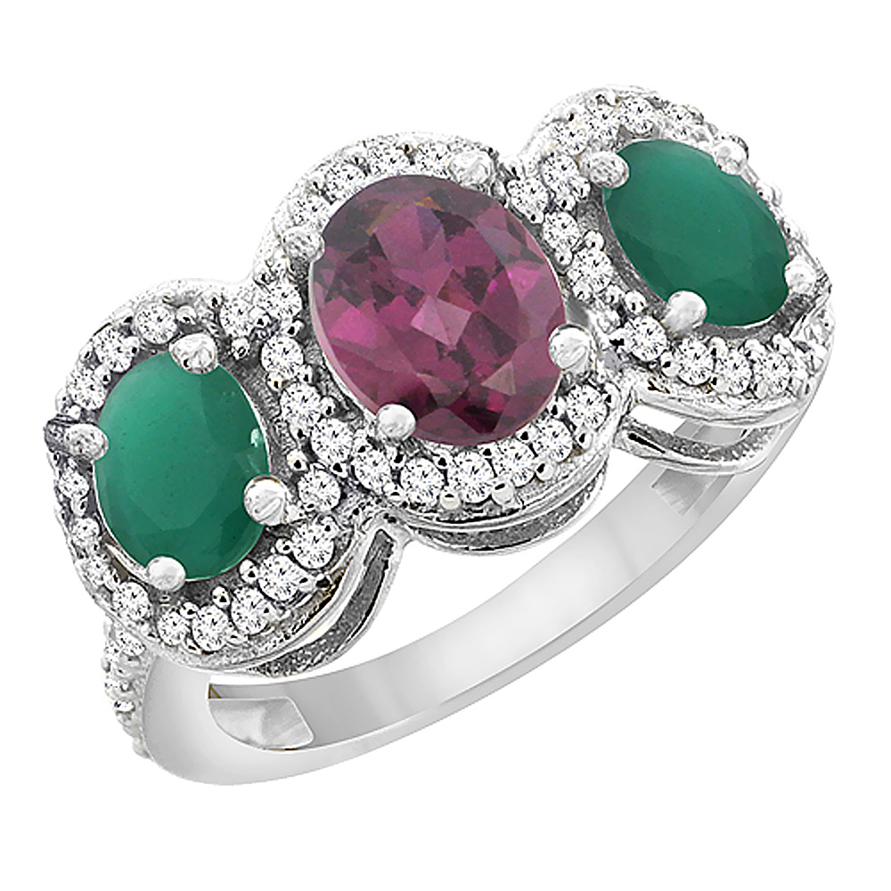 14K White Gold Natural Rhodolite & Emerald 3-Stone Ring Oval Diamond Accent, sizes 5 - 10