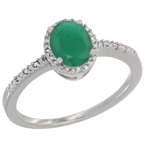 14K White Gold Diamond Natural Emerald Engagement Ring Oval 7x5 mm, sizes 5 - 10