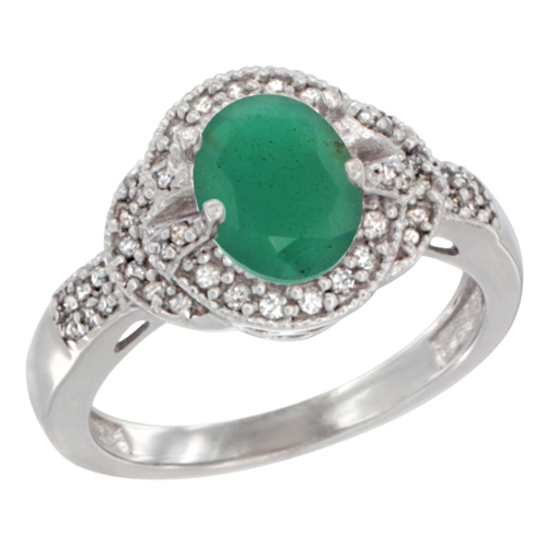 10K White Gold Natural Cabochon Emerald Ring Oval 8x6 mm Diamond Accent, sizes 5 - 10