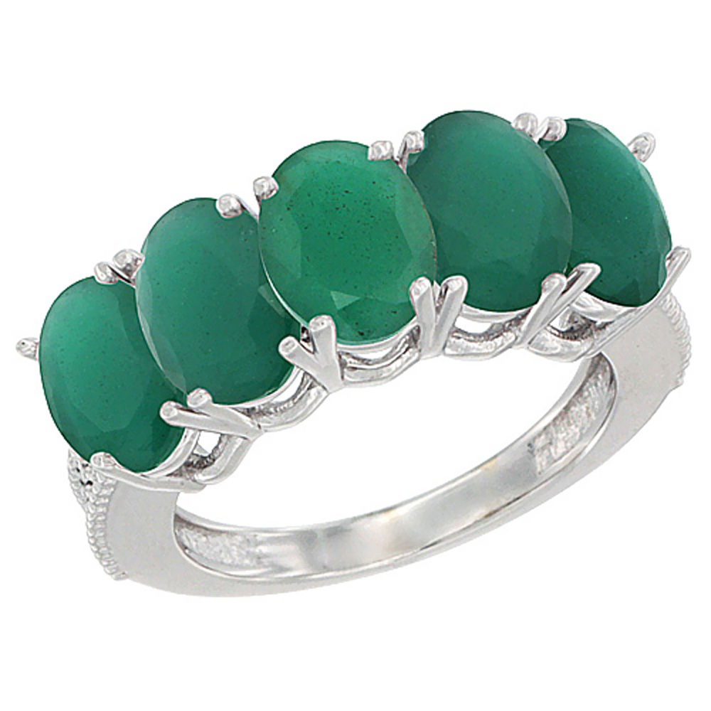14K White Gold Natural Emerald 1 ct. Oval 7x5mm 5-Stone Mother's Ring with Diamond Accents, sizes 5 to 10 with half sizes