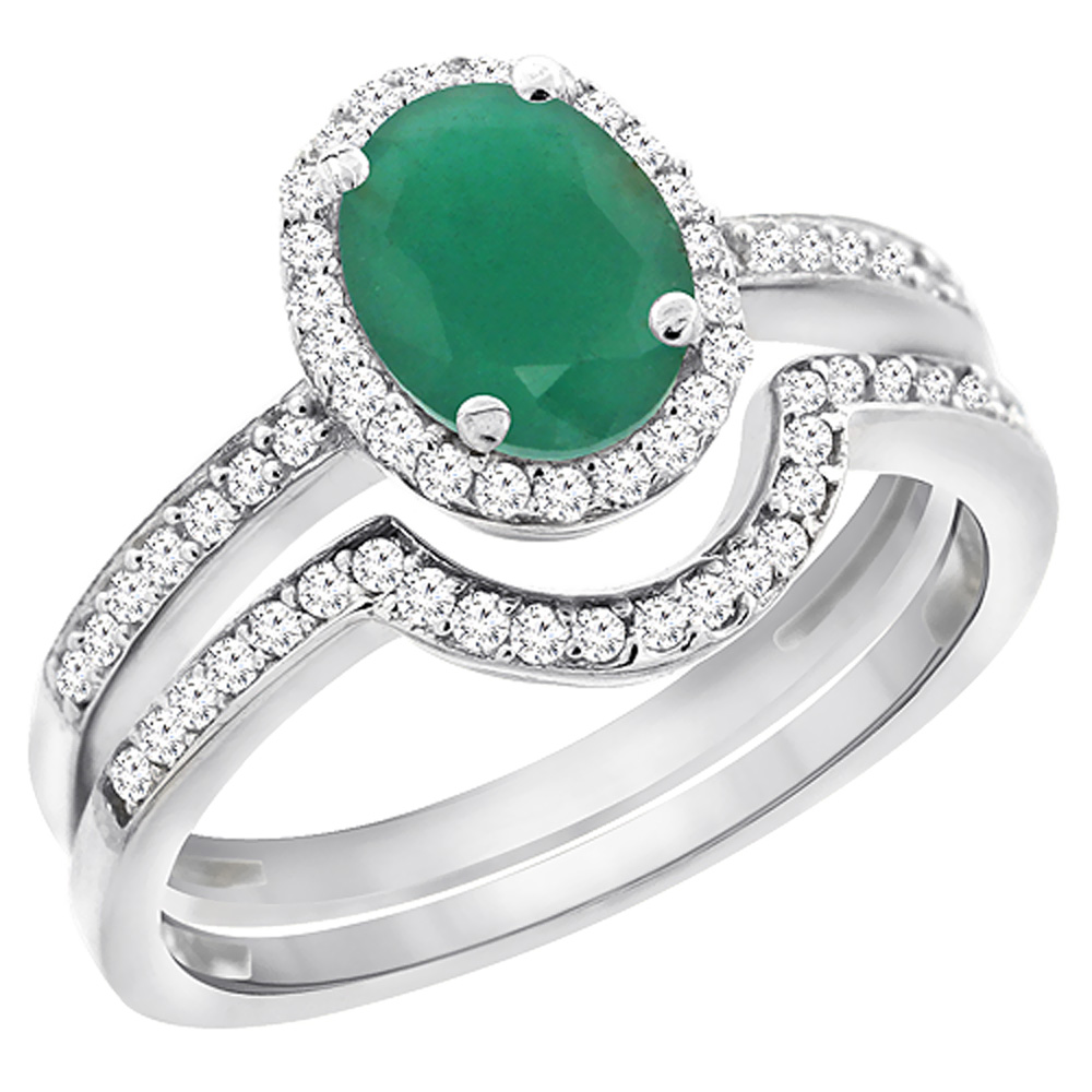 14K White Gold Diamond Natural Emerald 2-Pc. Engagement Ring Set Oval 8x6 mm, sizes 5 - 10