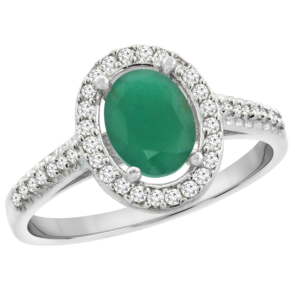10K White Gold Natural Emerald Engagement Ring Oval 7x5 mm Diamond Halo, sizes 5 - 10