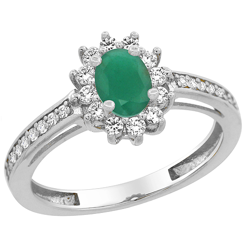 10K White Gold Natural Emerald Flower Halo Ring Oval 6x4 mm Diamond Accents, sizes 5 - 10