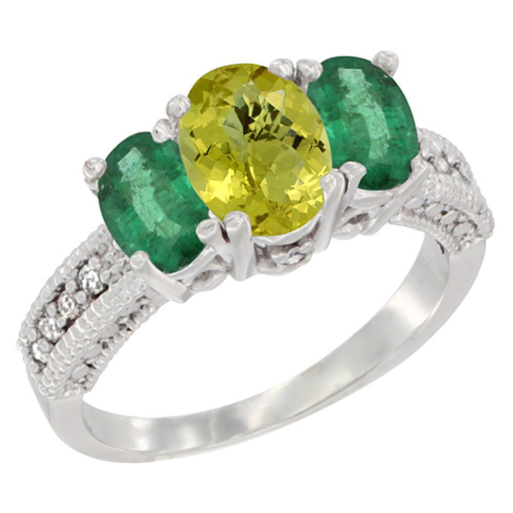 14K White Gold Diamond Natural Lemon Quartz Ring Oval 3-stone with Emerald, sizes 5 - 10