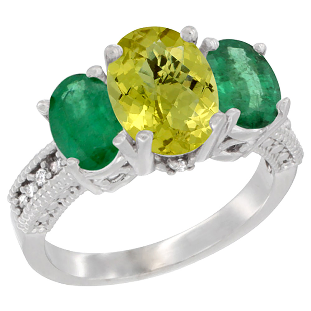 14K White Gold Natural Lemon Quartz Ring Ladies 3-Stone 8x6 Oval with Emerald Sides Diamond Accent, sizes 5 - 10