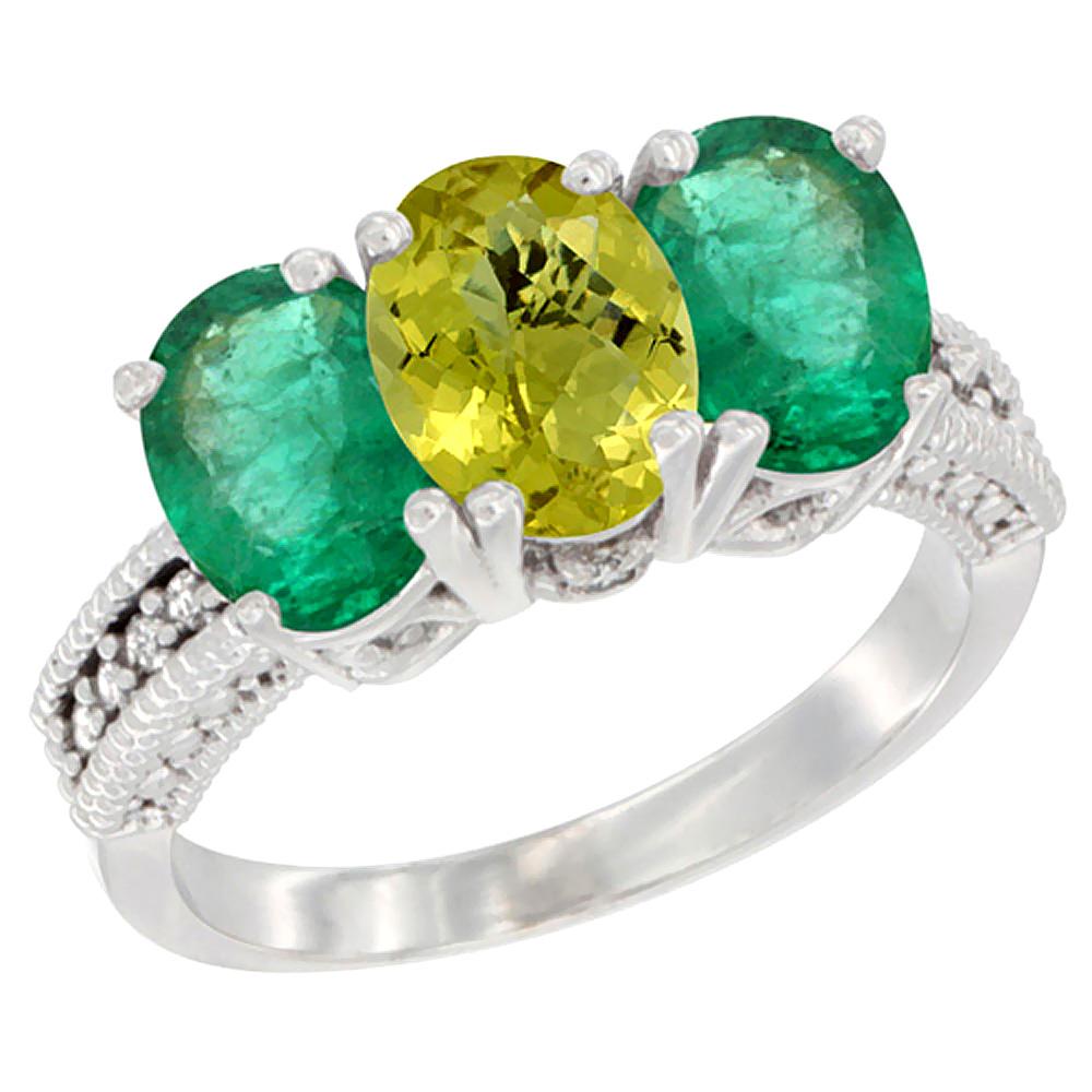 14K White Gold Natural Lemon Quartz & Emerald Sides Ring 3-Stone 7x5 mm Oval Diamond Accent, sizes 5 - 10