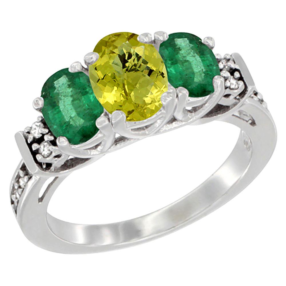 14K White Gold Natural Lemon Quartz & Emerald Ring 3-Stone Oval Diamond Accent, sizes 5-10