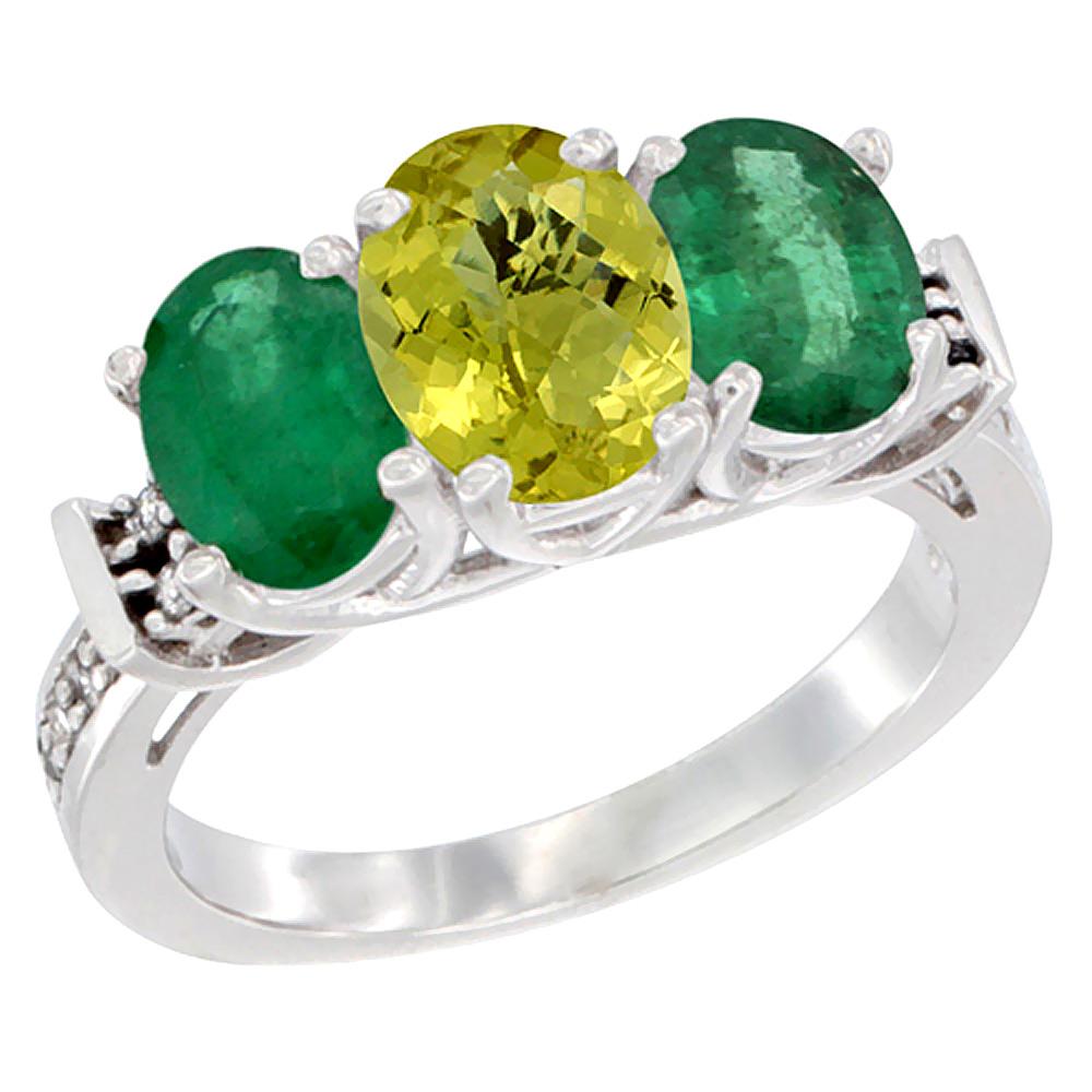 14K White Gold Natural Lemon Quartz & Emerald Sides Ring 3-Stone Oval Diamond Accent, sizes 5 - 10