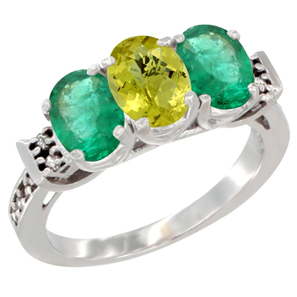 14K White Gold Natural Lemon Quartz & Emerald Sides Ring 3-Stone Oval 7x5 mm Diamond Accent, sizes 5 - 10