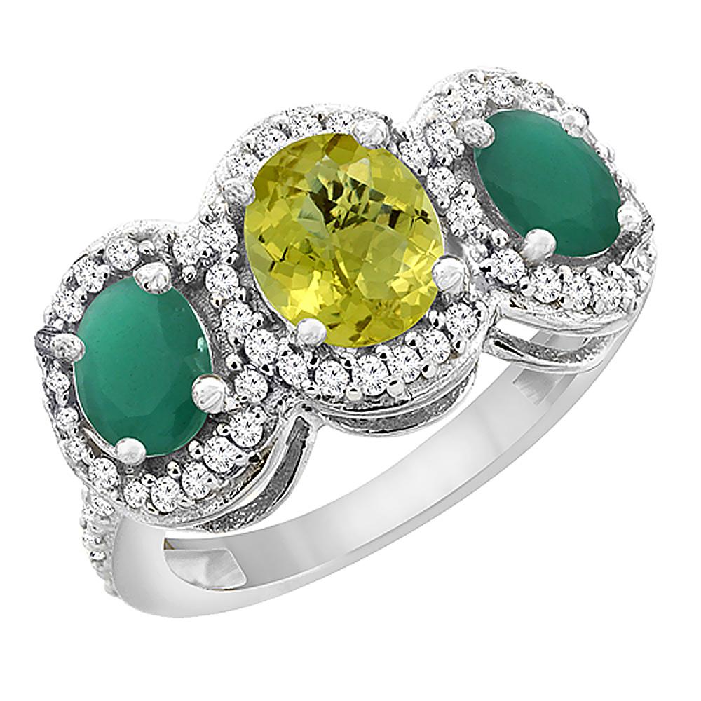 14K White Gold Natural Lemon Quartz & Emerald 3-Stone Ring Oval Diamond Accent, sizes 5 - 10