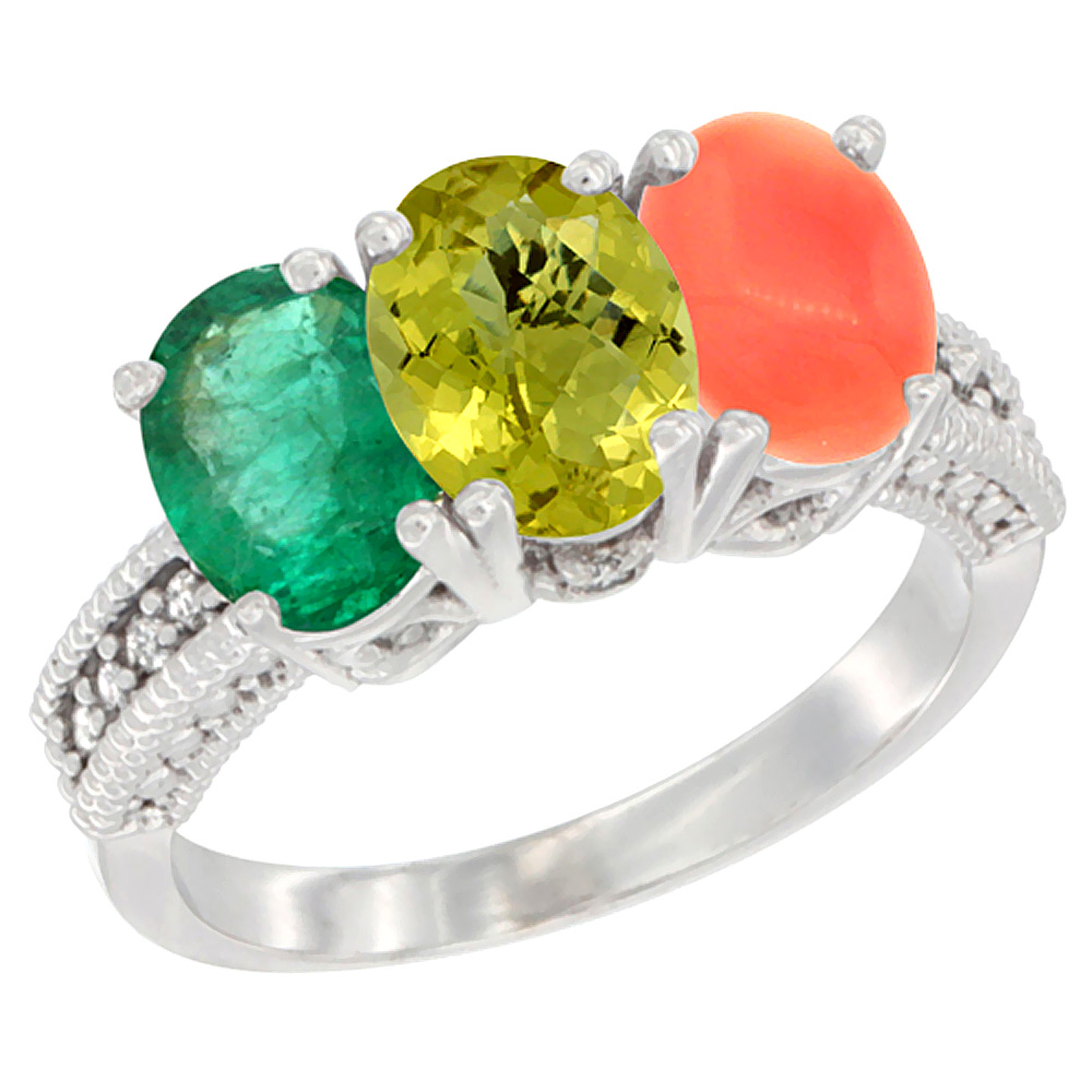 14K White Gold Natural Emerald, Lemon Quartz & Coral Ring 3-Stone 7x5 mm Oval Diamond Accent, sizes 5 - 10