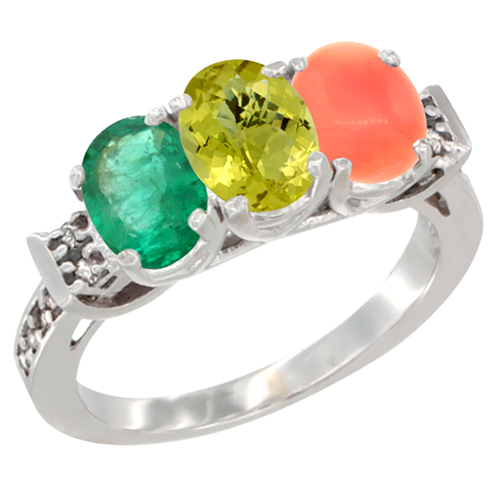 14K White Gold Natural Emerald, Lemon Quartz & Coral Ring 3-Stone Oval 7x5 mm Diamond Accent, sizes 5 - 10
