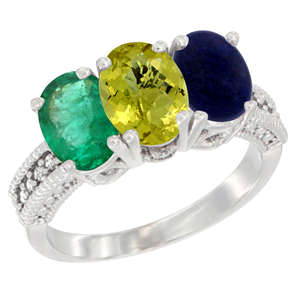 14K White Gold Natural Emerald, Lemon Quartz & Lapis Ring 3-Stone 7x5 mm Oval Diamond Accent, sizes 5 - 10