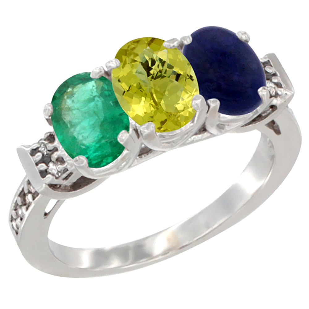 14K White Gold Natural Emerald, Lemon Quartz & Lapis Ring 3-Stone Oval 7x5 mm Diamond Accent, sizes 5 - 10