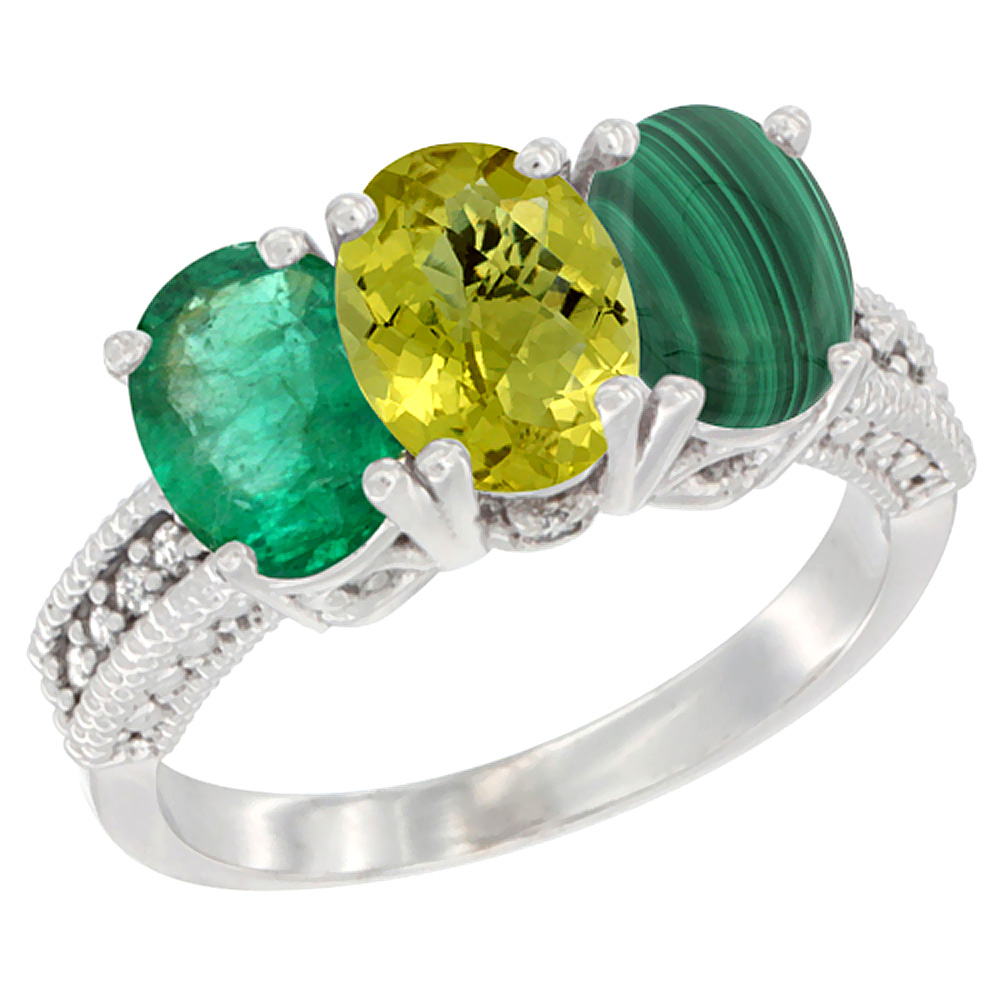 14K White Gold Natural Emerald, Lemon Quartz & Malachite Ring 3-Stone 7x5 mm Oval Diamond Accent, sizes 5 - 10
