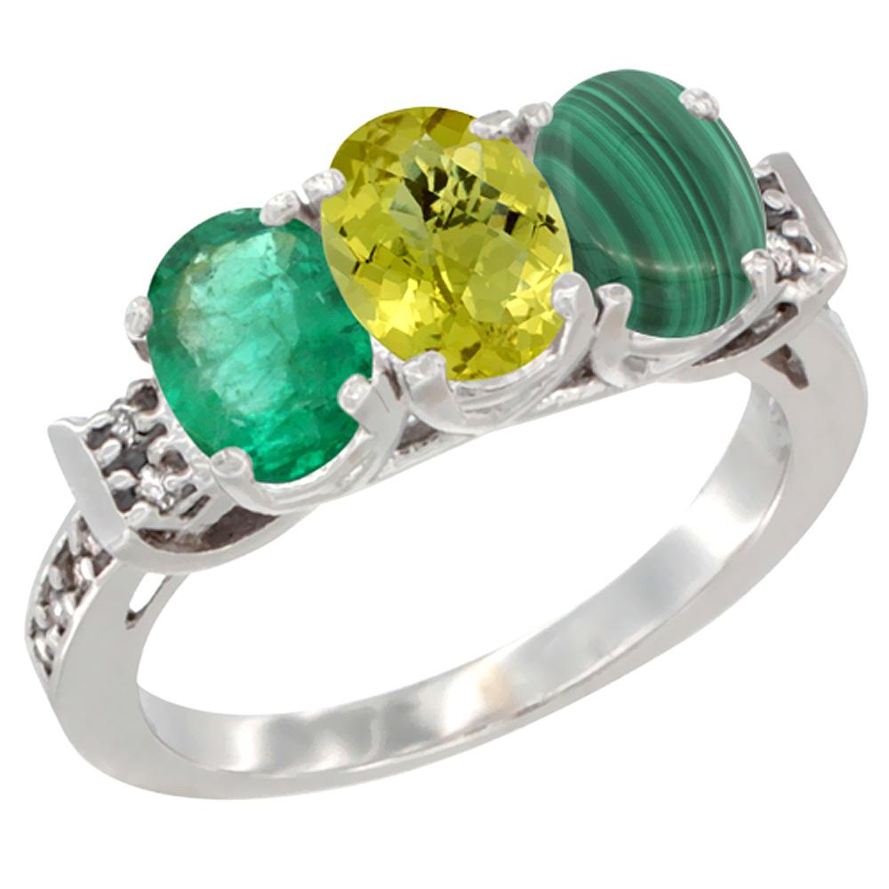 14K White Gold Natural Emerald, Lemon Quartz & Malachite Ring 3-Stone Oval 7x5 mm Diamond Accent, sizes 5 - 10